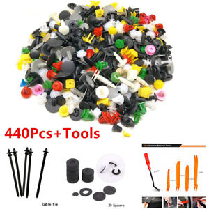 440Pcs+Tool Set Mixed Car Fastener Clips Bumper Door Panel Fender Retainer Rivet