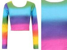 Maglie e camicie da donna multicolore aderente con girocollo