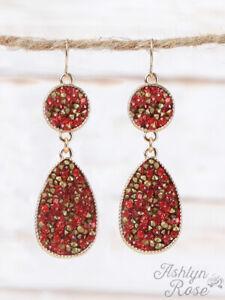 WOMENS LADIES Red Crystal Drop Earrings