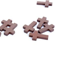 20pcs/lot 2*3cm Cross Wooden Beads Jesus Pendant Bead Jewelry Religious Necklace