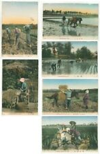 More details for japan japanese rice farming process full set of 10 hand tint c.1916 postcards