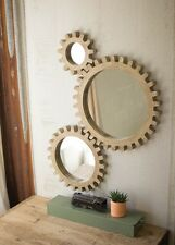 Gear Wall Mirrors Industrial Warehouse Round Wood COG Gears Steampunk ~ Set Of 3