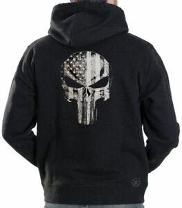 AMERICAN PUNISHER FLAG Hooded Sweat Shirt ~ Patriotic Skull Hoodie ~ Don't Tread