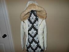 Women's dELiA*s Cream Faux Fur Hoodie Jacket Coat Size Small