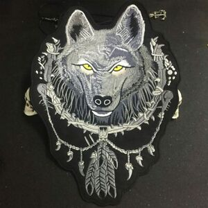 Wolf Large Iron On Patch Embroidered Applique Sewing Label Punk Biker Patches