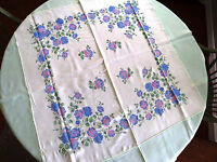 Blue and Pink Roses Tablecloth w/ 6 Napkins Off White Mint Green Vintage VGC