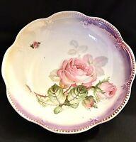 """Schwarzenhammer Bavaria 9"""" Serving Bowl Pink Roses Beaded Scalloped Edge Vintage"""
