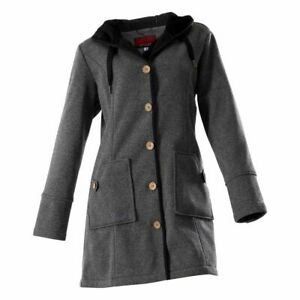 Owney Outdoor Womens Ladies Casual Softshell Hooded Coat Button Up Grey