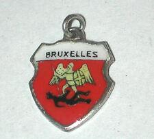 Travel Bruxelles St Michael Satan Brussels Vtg 800 Silver Charm Enamel Shield
