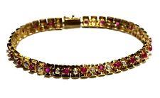 "14k yellow gold .11ct round diamond ruby tennis bracelet 9.1g ladies estate 7"""