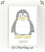 Penguin Personalised Animal Word Art Christmas Birthday Gift Print Keepsake