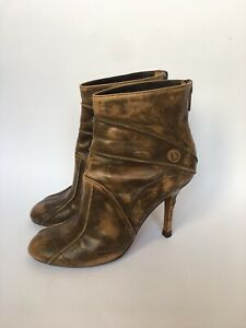 CHRISTIAN DIOR Brown Leather Heel Boots 37