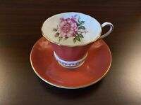 ANTIQUE AYNSLEY BONE CHINA TEA CUP & SAUCER - CIENA WITH GOLD TRIM & ROSE FLOWER