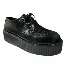 Nevermind | Creepers | Womens Blk Leather UMD Double Sole Rockabilly Creepers