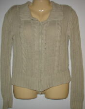NO BOUNDARIES - BEIGE - CABLE KNIT -  ZIPPER FRONT SWEATER CARDIGAN - SMALL