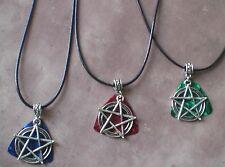 Pentagram Guitar Pick Pendant Pentacle Supernatural Leather Necklace Wicca Pagan