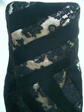 DAVID MEISTER Womens Black Beige Brown Silk Floral Lace Formal Prom Dress Gown 8