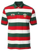 Adult Welsh Wales Rugby Cymru Wc Yarn Dyed Striped Polo  Small To 4XL