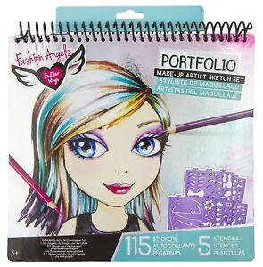 Kids Drawing Make Up Portfolio Coloring Art Set Girls Stencil Kit Fashion Fun
