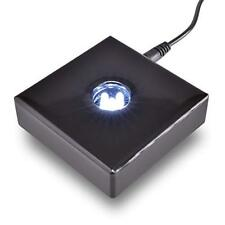 5 LED White Light Black Lacquer Wood Stand Base for Crystals Glass - AC Powered