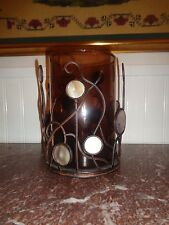 Round Metal Candle Holder with glass insert with beautiful design