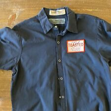 "Vintage Men's Work Shirt Size M with Blue Point Brewing Co ""Get Toasted"" Embroid"