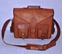 Men's Genuine Vintage Leather Messenger Shoulder padded Laptop Bag Briefcase