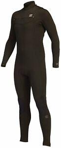 Billabong Men's Absolute 4/3mm Chest Zip Full Wetsuit - Black Hash - New