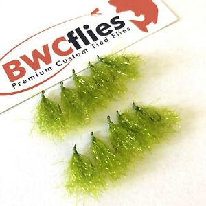 BWCflies Weed Flies 10pk Bright  (5 X Size 8, 5 X Size 10) For Luderick Fishing