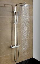 FoxHunter Bathroom Mixer Shower Set Twin Head Square Chrome Ss04 Thermostatic