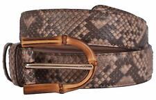 New Gucci Women's 322957 Camel Brown Python Snakeskin Bamboo Buckle Belt 32 80