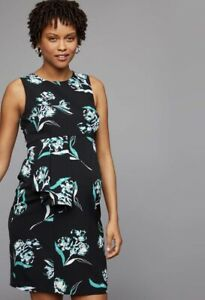 NWT A PEA IN THE POD MATERNITY BLACK GREEN FLORAL WATERCOLOR SHEATH DRESS $59 XS