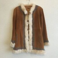 Vintage turquoise embroidered suede afghan penny lane coat 70's real fur trim S
