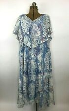 Reba Womens Dress Size 3X Lace Mesh Overlay Rhinestone Peasant Floral Blue Print