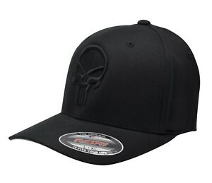 Limited Edt. Punisher Puff Embroidered FlexFit # 5001 Black Hat - Free Shipping!