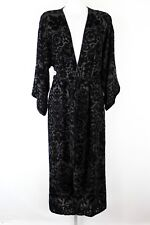 Oscar de la Renta Black Velvet Embroidered Long Sleeve Tie Waist Robe Size XS