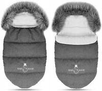Baby Footmuff Collar Stroller Pushchair Sleeping Bag Husky Warm Dark Grey/Grey