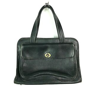 Coach 1960 Vintage Bonnie Cashin Safari Pocket Satchel Bag Brass Black Leather