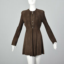 Small 1990s Giorgio Armani Brown Goat Suede VTG Leather Dress Long Sleeve