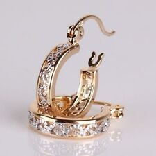 Exquisite Women 18K Yellow Gold Filled Stud Hoop Dangle Earring Wedding Jewelry
