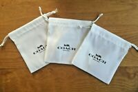 """3 COACH White 4.5"""" x 5"""" Pouch Drawstring Jewelry Dust Bag - FREE SHIPPING"""