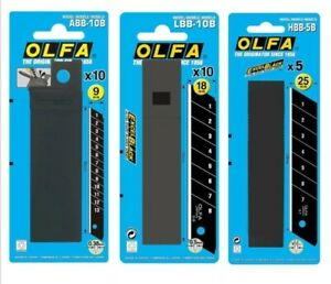 Olfa Excel Black Ultra Sharpe Snap Blades 9mm & 18mm  10 Pach & 25mm 5 Pack