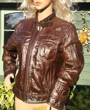 M&S AUTOGRAPH Chocolate brown leather JACKET UK 14 biker bomber Vintage Style