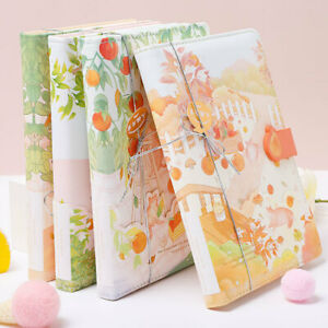 """""""Orange Cat"""" Faux Leather Cover Cute Journal Student Diary Notepad Notebook Gift"""