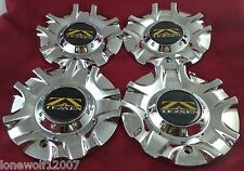 Tezzen Wheels Chrome Custom Wheel Center Caps Set of 4 # HEX FWD