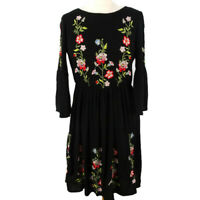 Vero Moda Size S 12 Black 3/4 Sleeve Embroidered Floral Dress Gypsy Peasant Boho