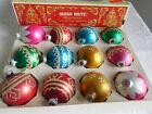 "lot of 12 CHRISTMAS 2 1/4"" round ball GLASS glitter SHINY BRITE ORNAMENTS w/box"