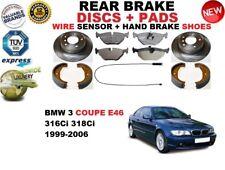 für BMW 3 E46 Coupe Bremsscheiben SET HINTEN+BELÄGE SET +Sensor+HANDBREMSE Schuh