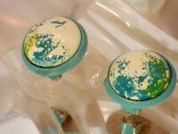 Vintage 1960's NICE Hong Kong Paint Splatter Enamel Clip Earrings 89D8