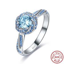Free Box Women's Swiss Blue Topaz 100% 925 Sterling Silver Ring Size L½ N½ P½ R½